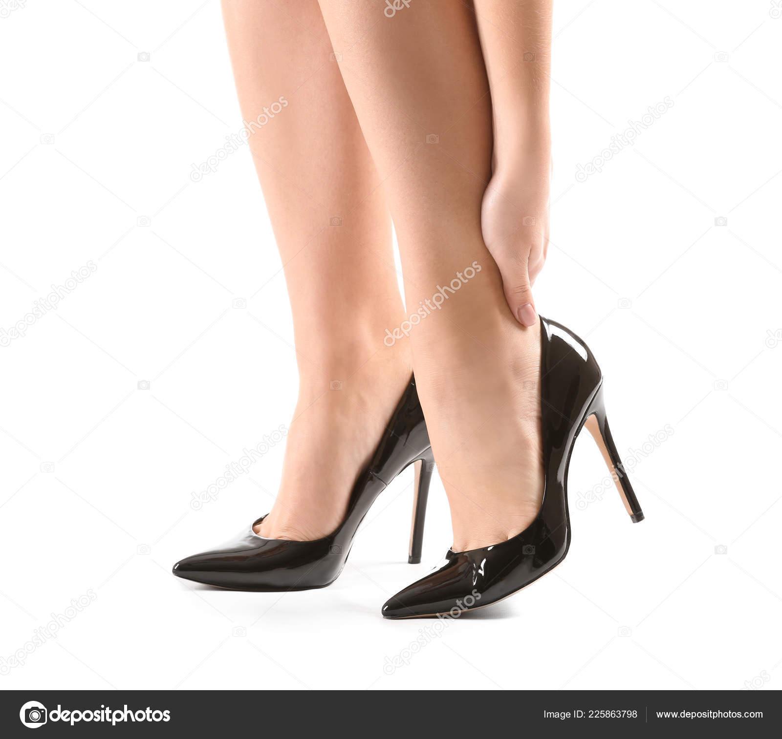 De — Alto Sufre Fondo Mujer Dolor Tacón Foto Zapatos Pierna