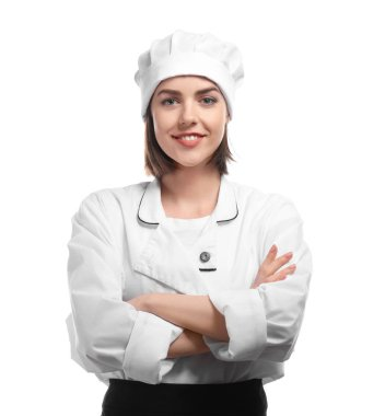 Young female chef on white background