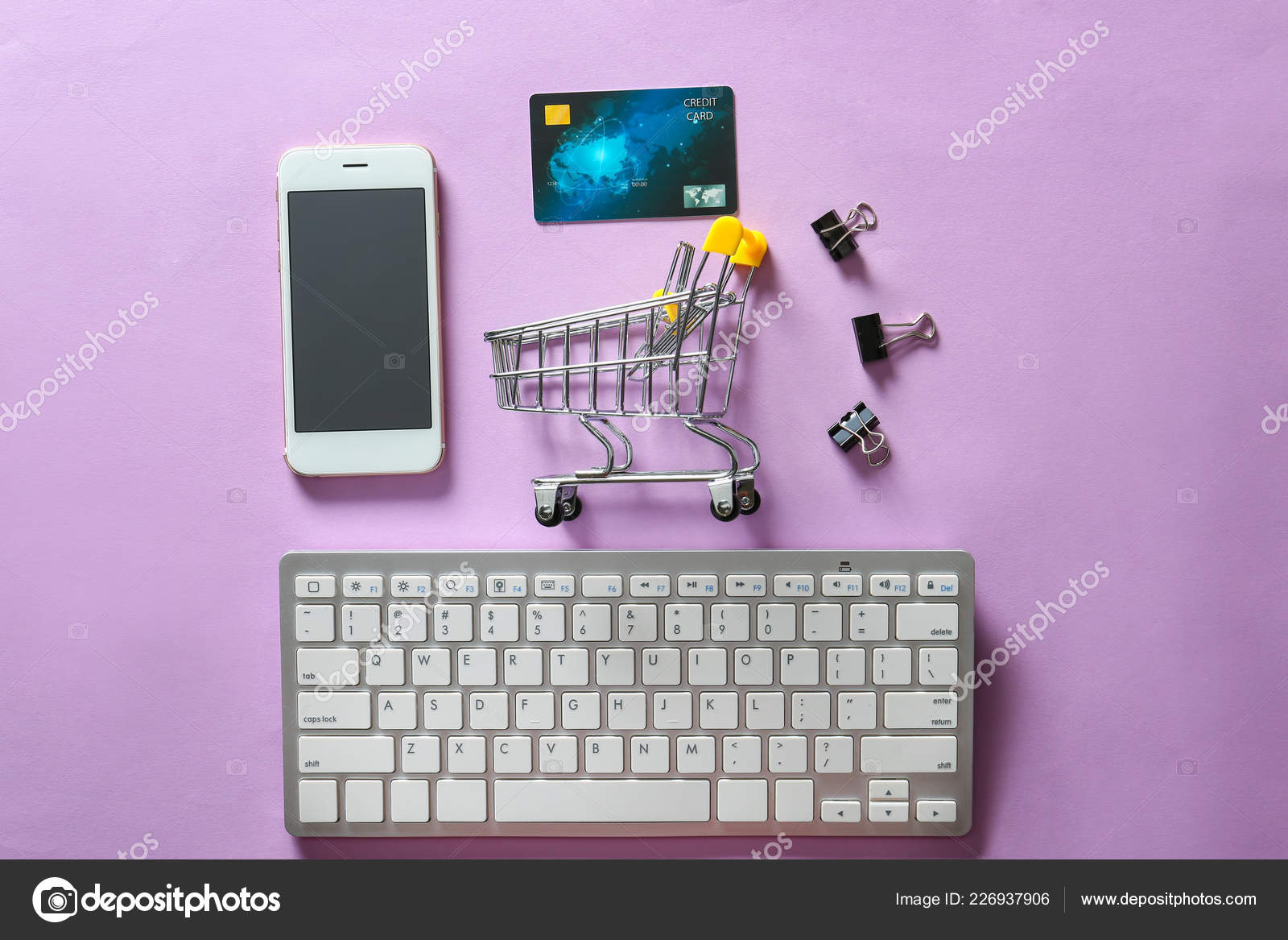 7b41b670ed0 Composition Small Cart Mobile Phone Computer Keyboard Color ...