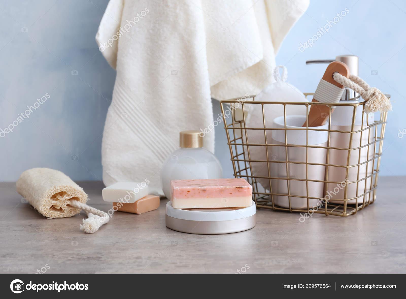 Cesta Metal Con Accesorios Para Baño Jabón Mesa Cuarto Baño ...