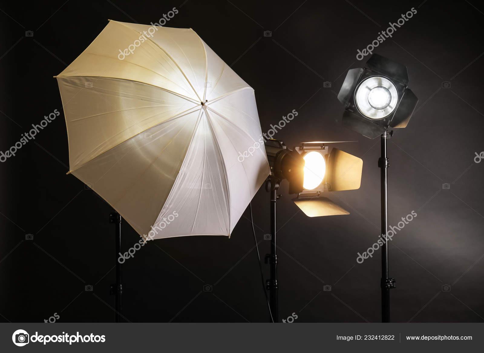 Professional Lighting Equipment Dark Background Stock Photo C Serezniy 232412822