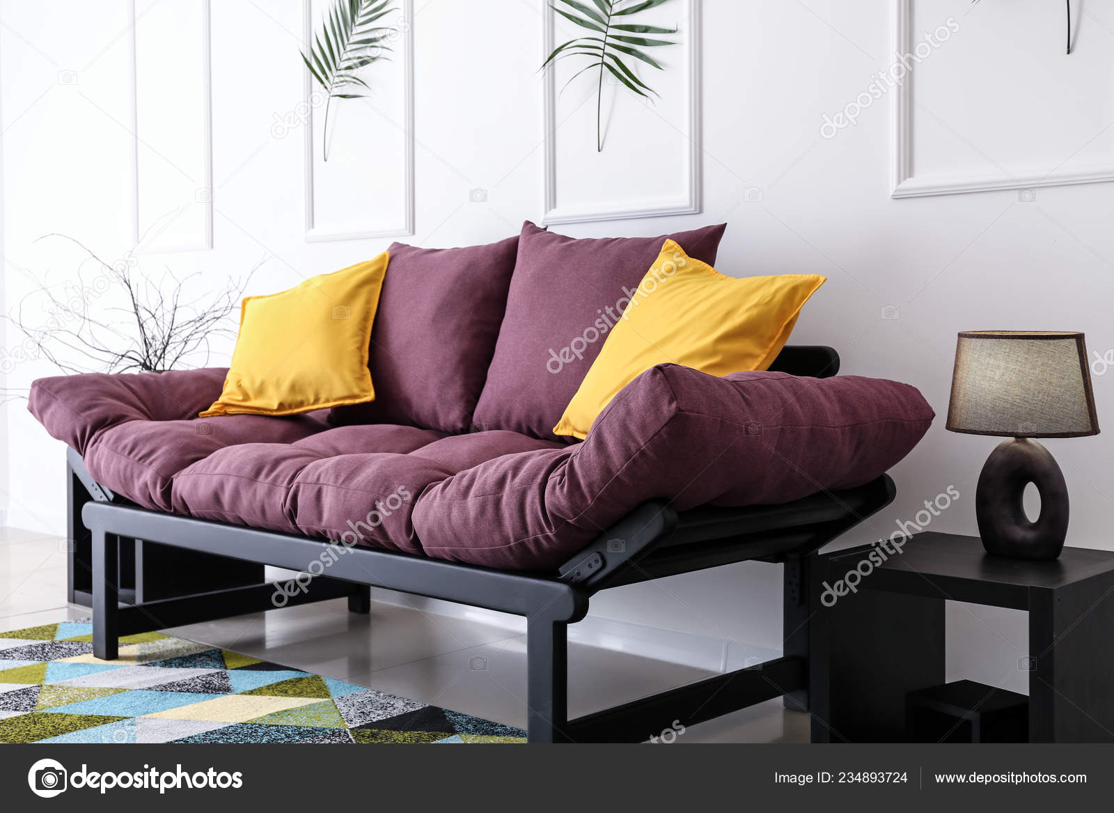 Salontafel Design On Stock.Beautiful Interior Comfortable Living Room Stock Photo