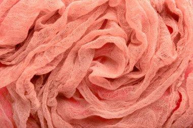 Coral gauze cloth, closeup