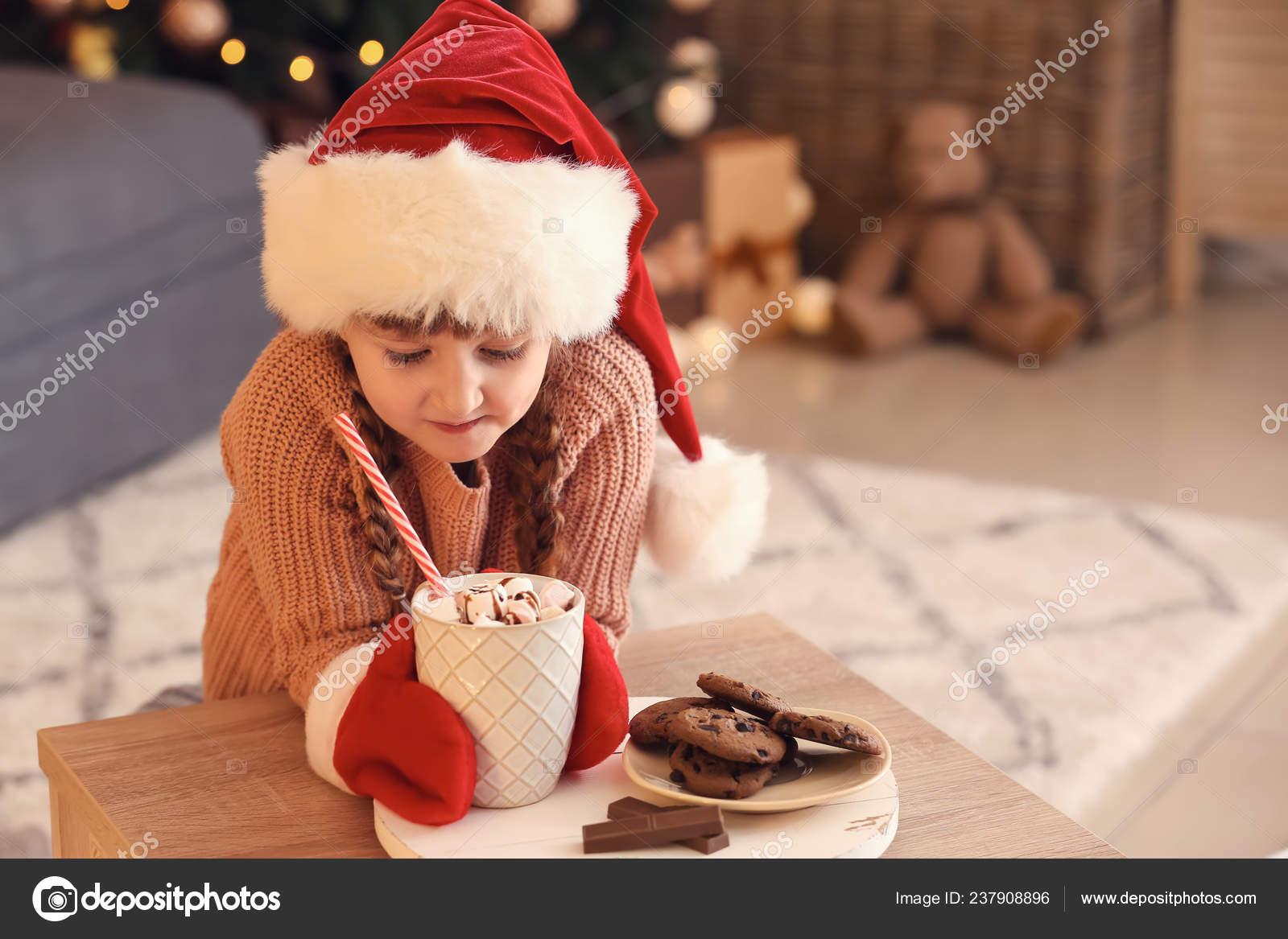 Cute Little Girl Santa Hat Hot Chocolate Cookies Home Christmas