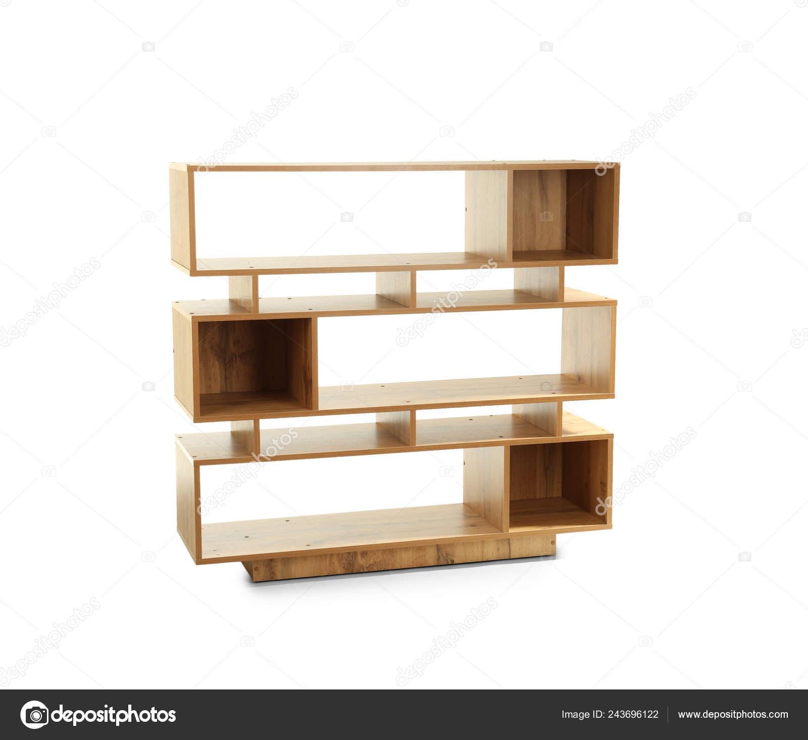 Wooden Shelf Unit White Background Stock Photo C Serezniy 243696122
