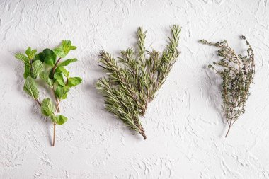 Bunches of aromatic herbs on white background