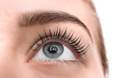 Beautiful young woman after eyelashes lamination, closeup