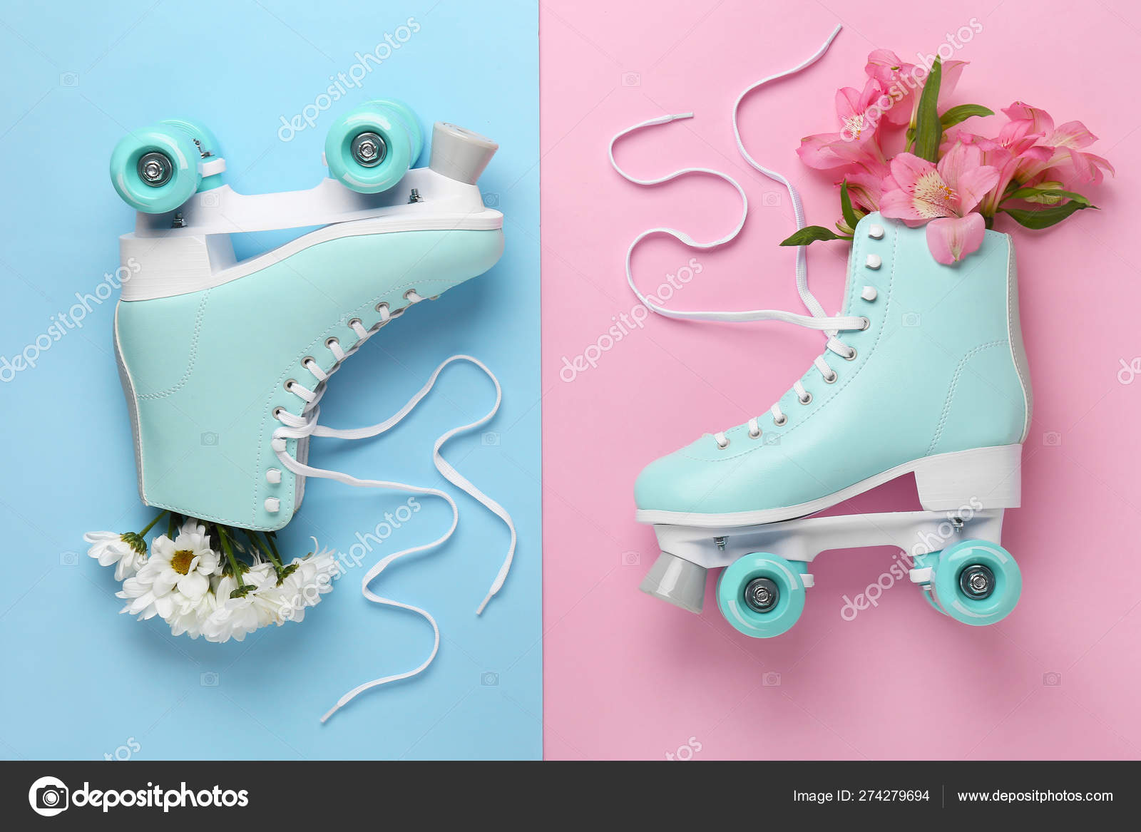 Vintage Roller Skates With Flowers On Color Background Stock Photo C Serezniy 274279694