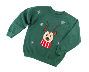 Christmas sweater with deer on white background