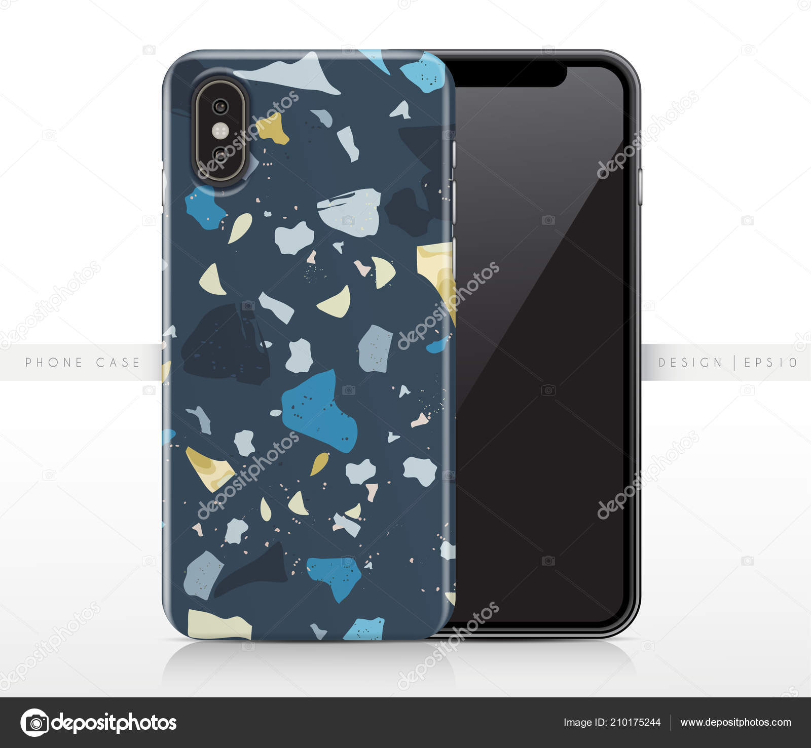 Phone Case Template   Colorful Terrazzo Pattern Phone Case Template Vector Illustration