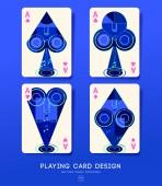 Fotografie Set aus vier Spielkartenrückseiten mit musikalischen Elementen: Vektorillustration