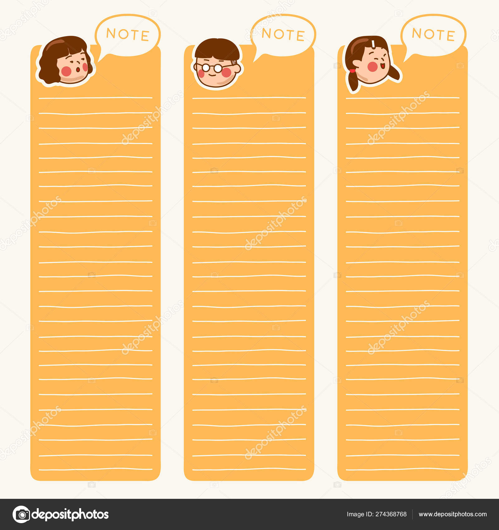 Cute School Kids Illustration Elements Notebook Diary