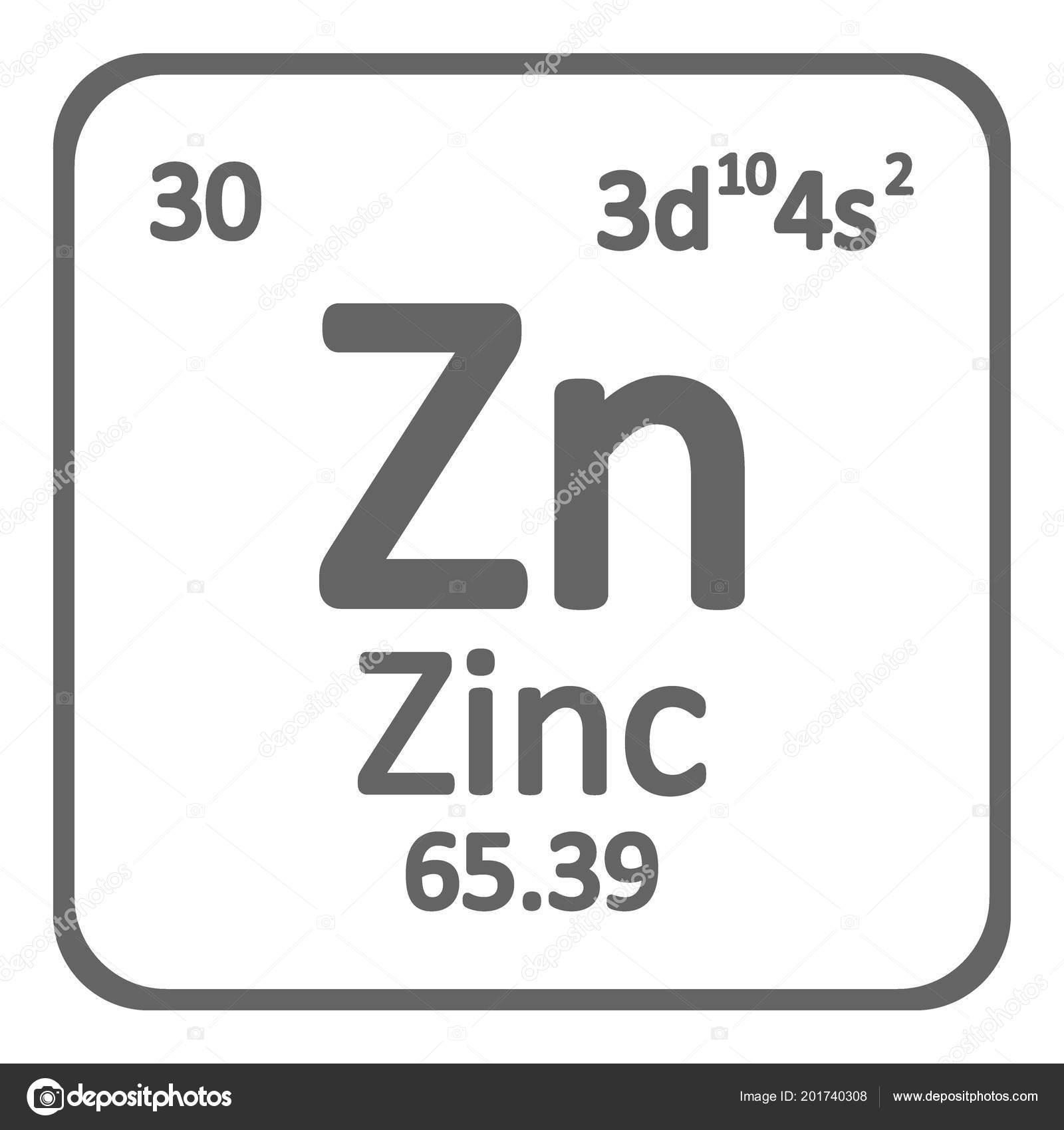 periodic table element zinc icon stock vector