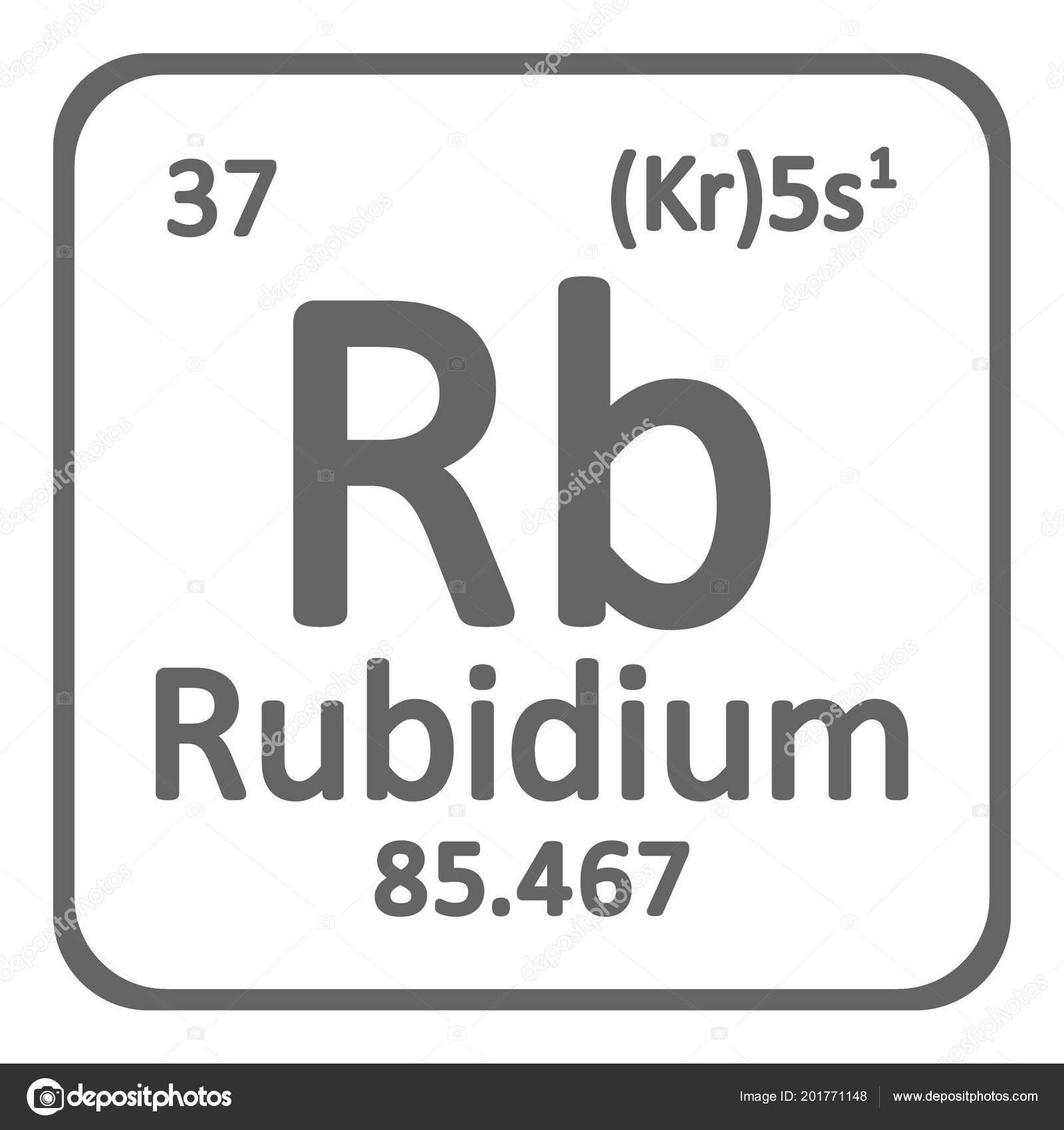 Periodic Table Element Rybidium Icon White Background Vector