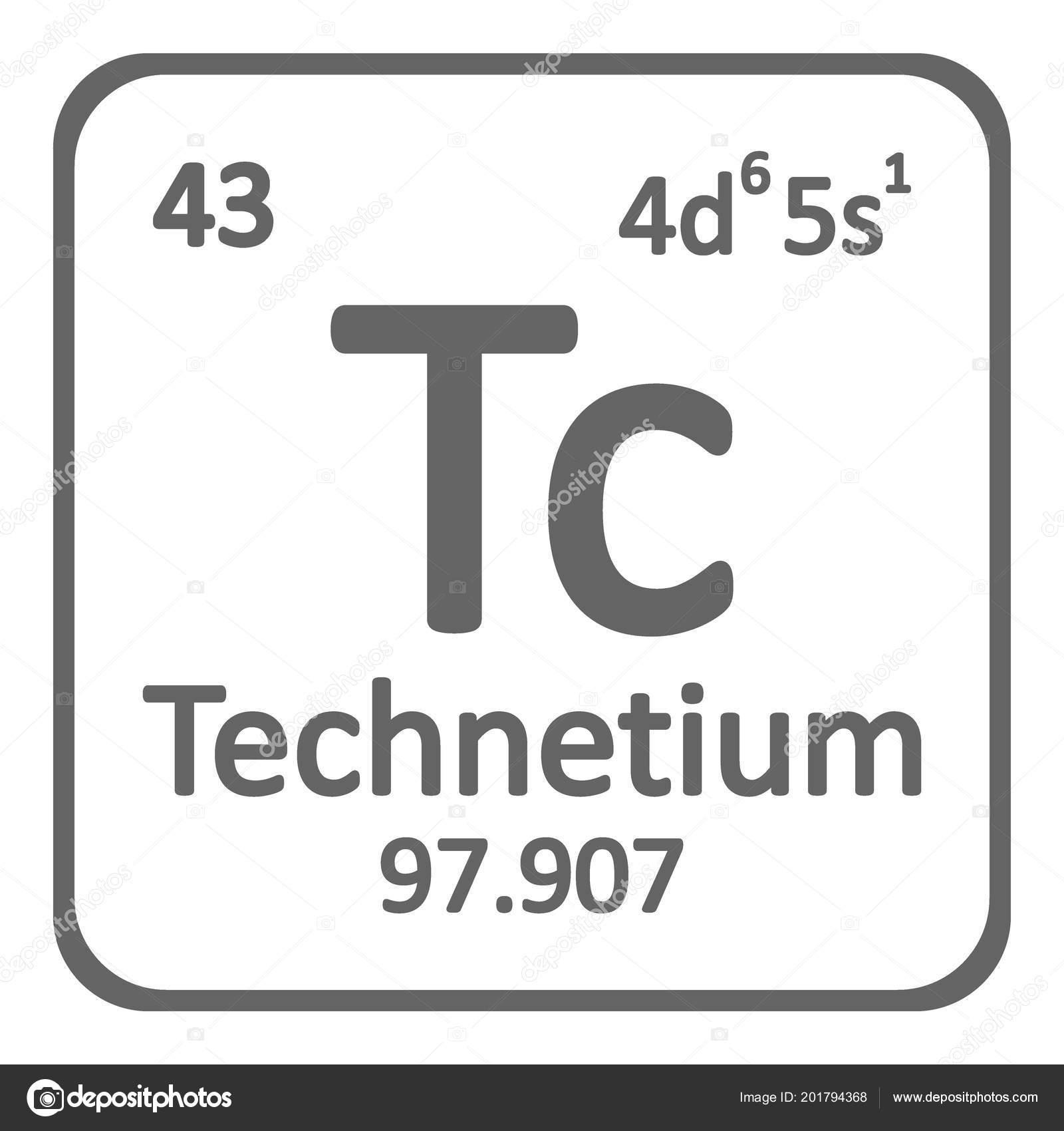 tabla periodica elemento tecnecio icono sobre fondo blanco ilustracin vector archivo imgenes vectoriales
