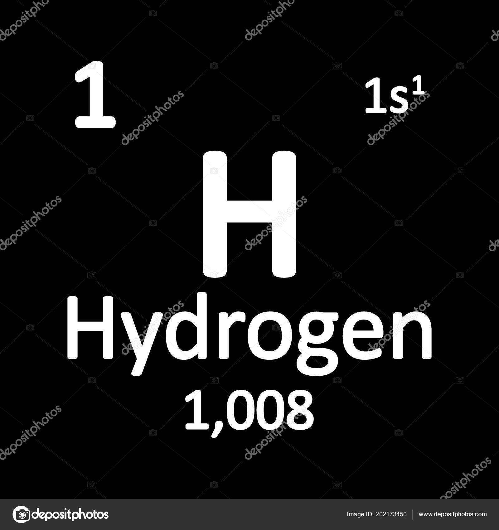 Periodic Table Element Hydrogen Icon White Background Vector