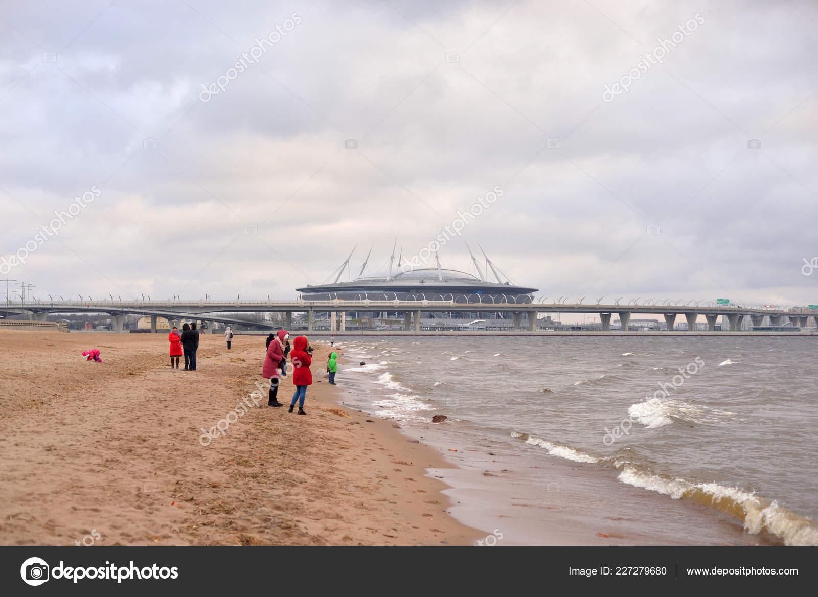 5364788afc30 Petersburg Russia November 2018 Gulf Finland Baltic Sea New Stadium — Stock  Photo