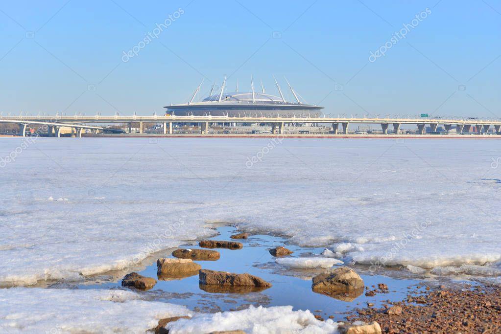 Frozen Baltic Sea and new Stadium Gazprom Arena.
