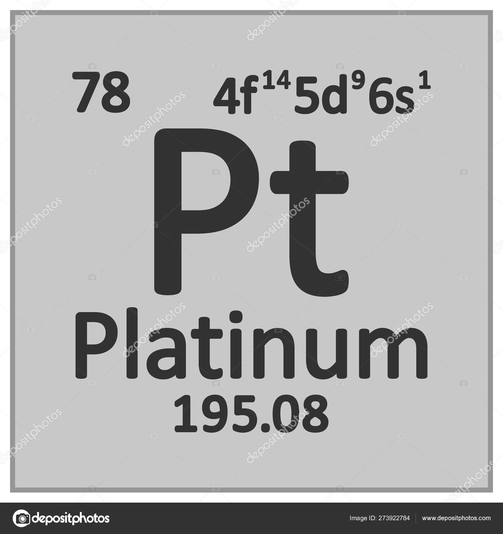 Periodic Table Element Platinum Icon Stock Vector
