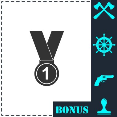 Medal icon flat. Simple vector symbol and bonus icon