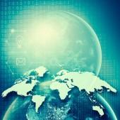 A föld az űrből. Legjobb Internet fogalmának globális üzleti fogalmak sorozatból. Ez a kép a Nasa berendezett elemei. 3D-s illusztráció