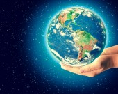 Photo Earth from Space in hands, globe in hands Best Internet Concept of global business from concepts series. Elements of this image furnished by NASA. 3D illustration.
