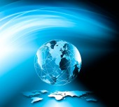 A legjobb internetes koncepció a globális üzletről. Globe, ragyogó vonalak technológiai háttérrel. Wi-Fi, sugarak, szimbólumok Internet, 3D illusztráció