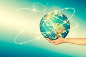 Fotografie Earth from Space in hands, globe in hands Best Internet Concept of global business from concepts series. Elements of this image furnished by NASA. 3D illustration.