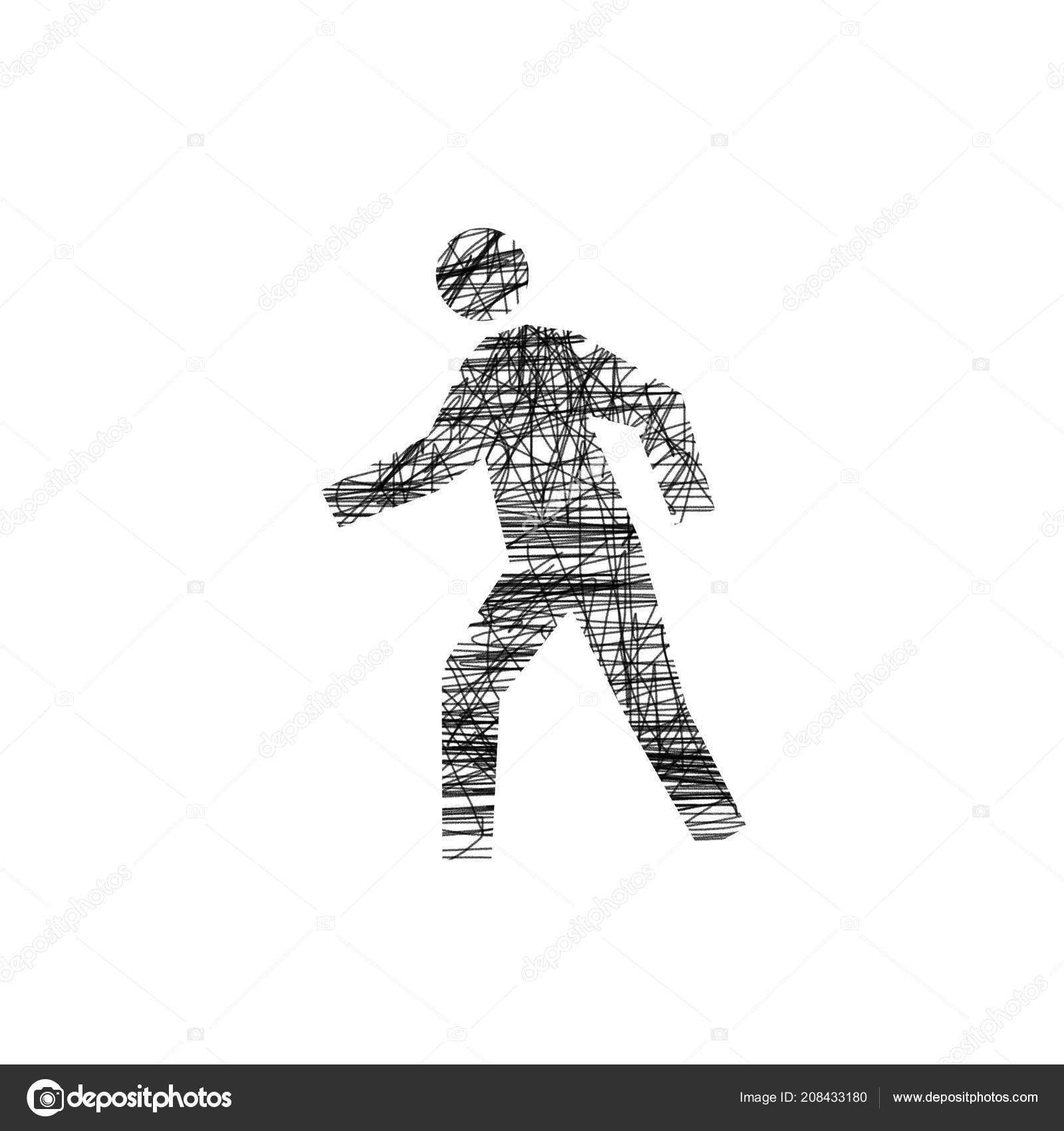 Walking man primitive drawing in black pencil on a white background stock photo