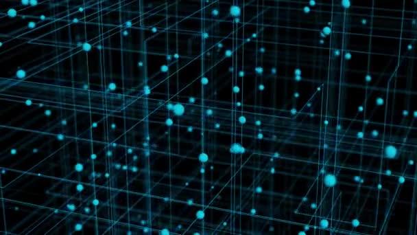 blau getönte hallo-tech 3D illustrierter animierter Hintergrund eines Gitters und mehrerer Kugeln