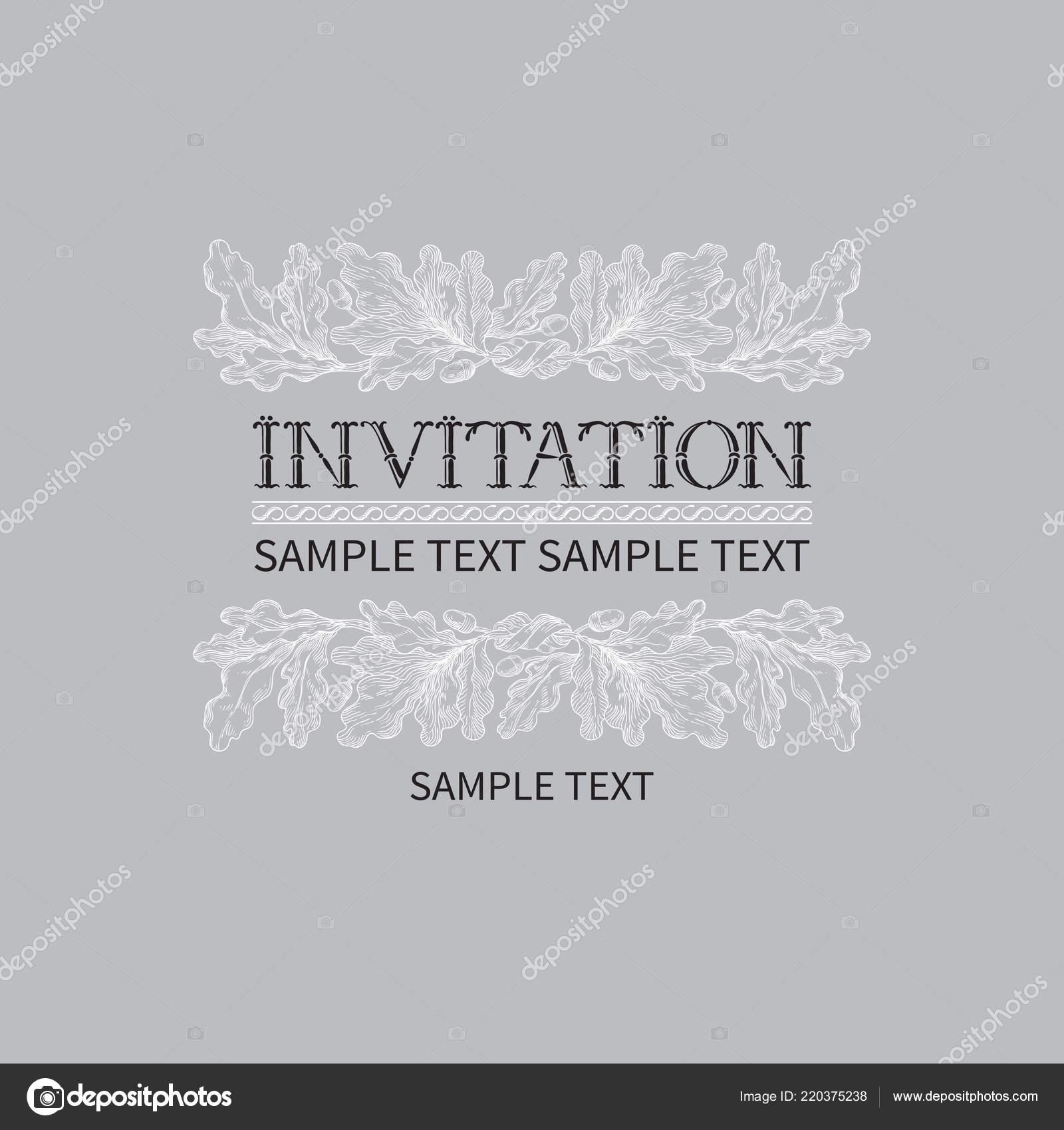 Vintage Invitation Card Vector Background Lettering Hand