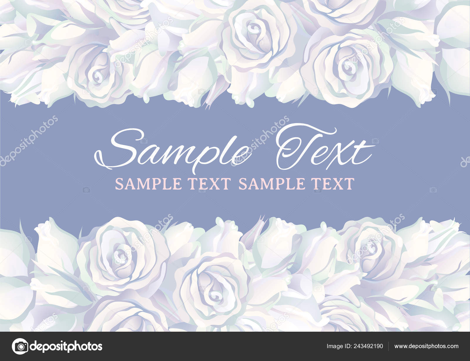 Floral Border Many White Roses Vector Template Flowers Gray ...