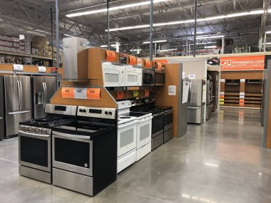 Home Depot is the largest Home Improvement Retailer in the United States. Appliances being sold inside the Home Depot store with a variety of products. Photo was taken in Gilbert Arizona located in the South West section of the United States.