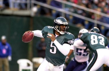 Donvan McNabb Quarterback for the Philadelphia Eagles in game action during a regular season game. Donovan McNabb is an NFL former football quarterback who played in the National Football League for 13 seasons primarily with the Philadelphia Eagles.