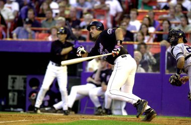 Mike Piazza Hall Of Fame Catcher for the New York Mets in game action during games during his career with the New York Mets. Mike Piazza is a former professional baseball catcher who played 16 seasons in Major League Baseball.