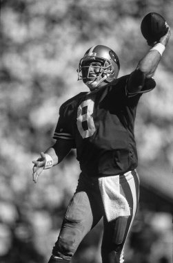 Steve Young Quarterback for the San Francisco 49ers in game action during the Super Bowl XXIX.  Steven Young was a NFL quarterback who played  in the National Football League and is best known for his 13 seasons with the San Francisco 49ers stock vector