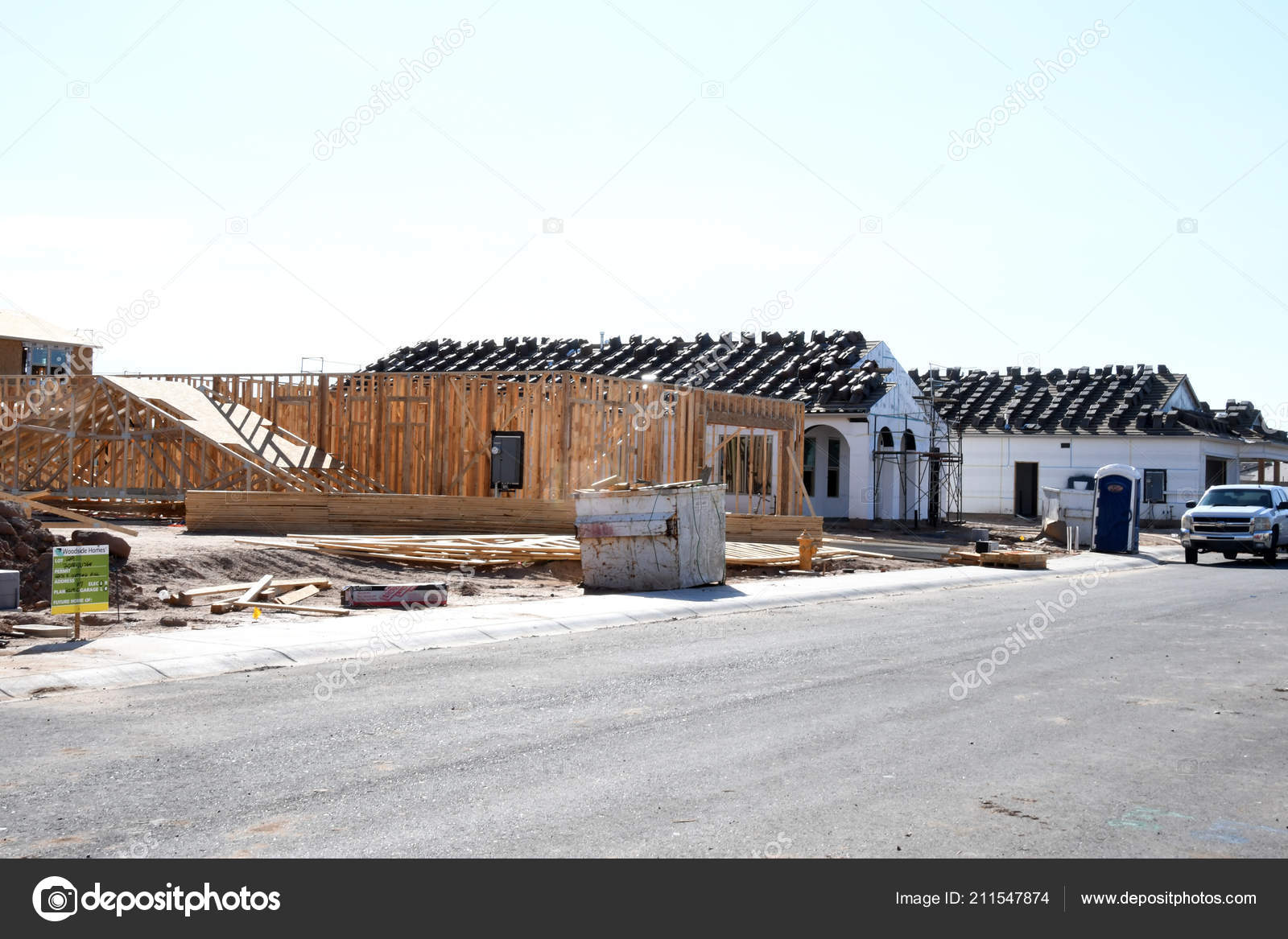 New Construction Framing Being Assembled Crew Construction Company ...