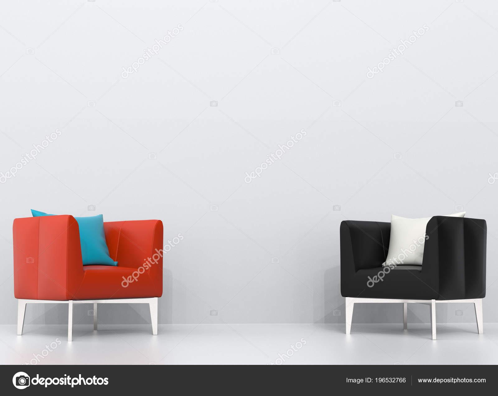 Schwarz Und Orange Ledersessel Weißen Wohnzimmer — Stockfoto ...