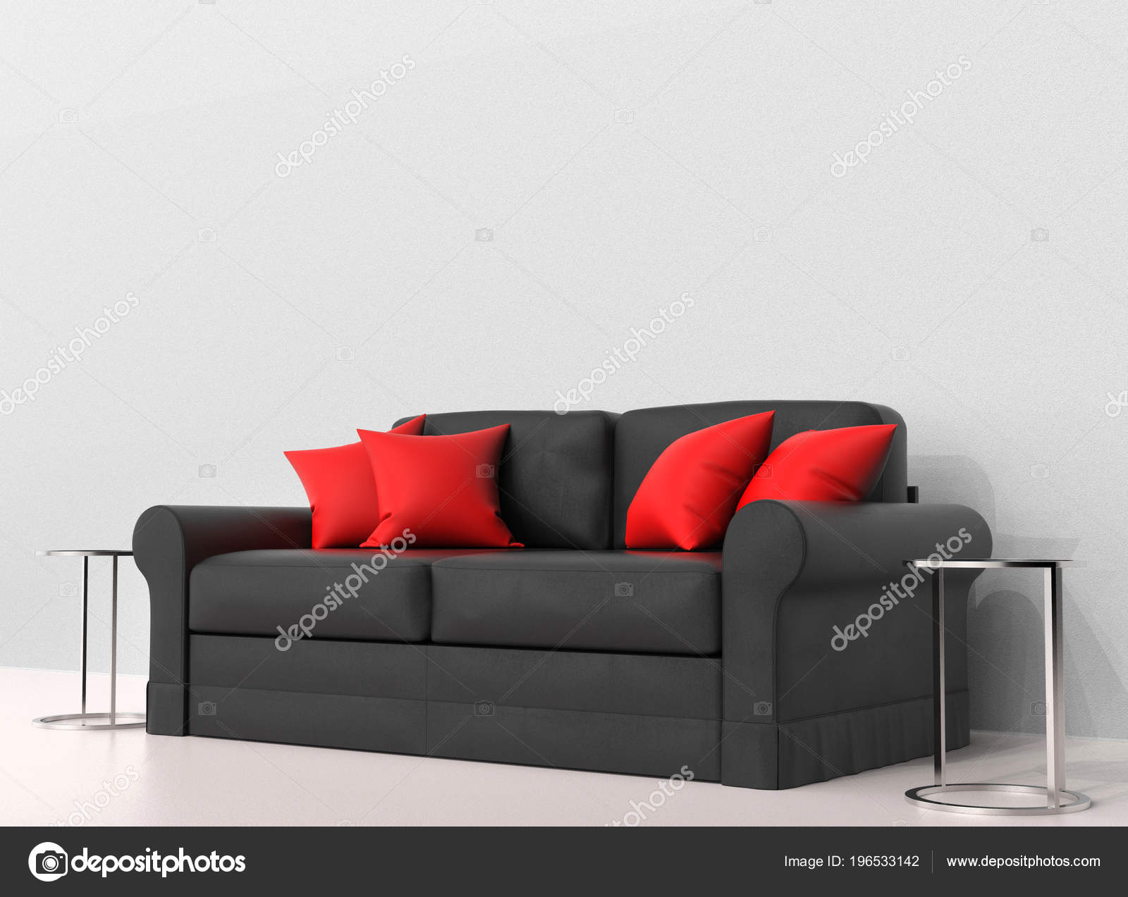 Black Sofa Red Pillows Two End Tables Sides Stock Photo