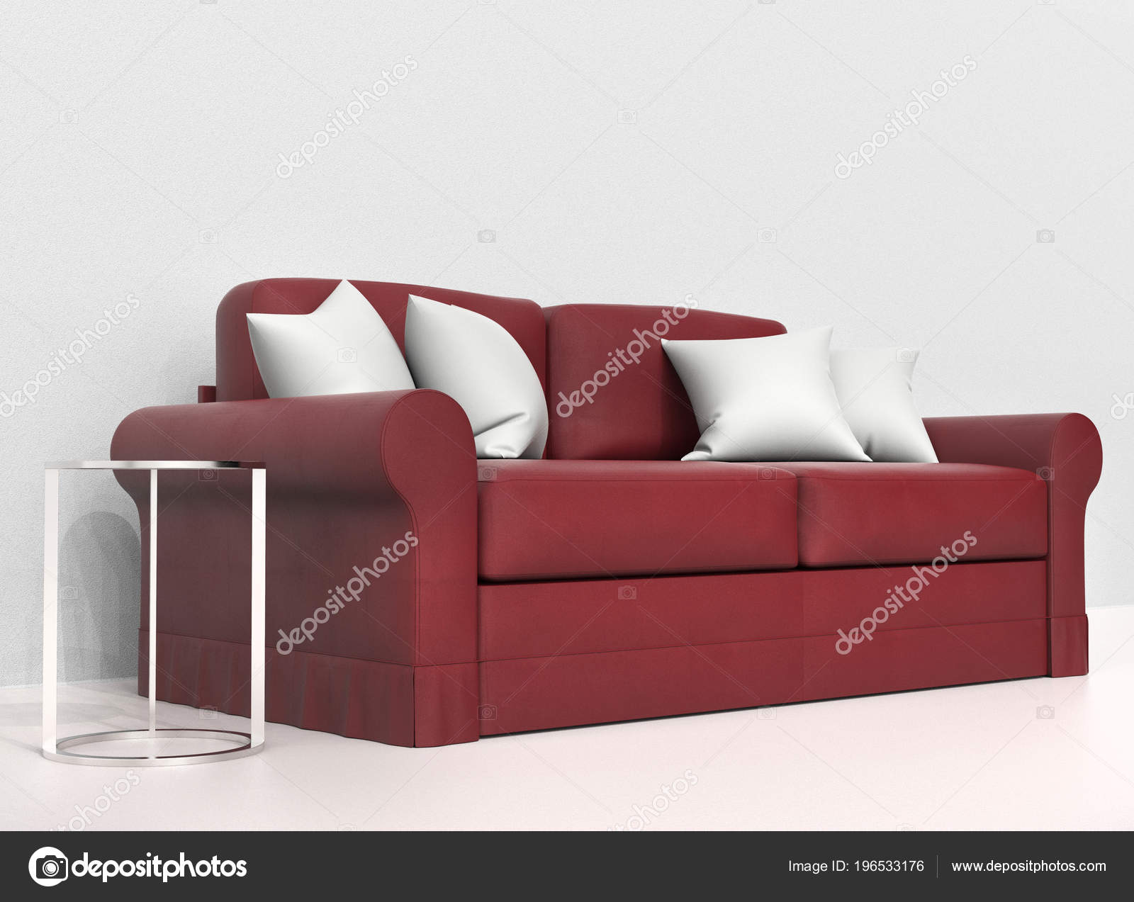Pleasing Red Leather Sofa White Pillows Stock Photo C Trimitrius Ncnpc Chair Design For Home Ncnpcorg