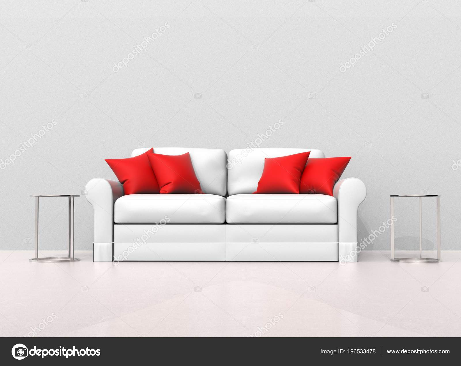 White Sofa Red Pillows Two End Tables Sides — Stock Photo ...