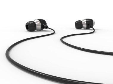 Modern in - ear headphones - closeup shot