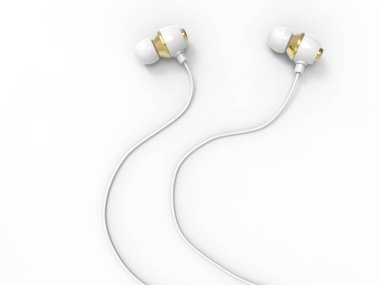 Modern white gold phone headphones
