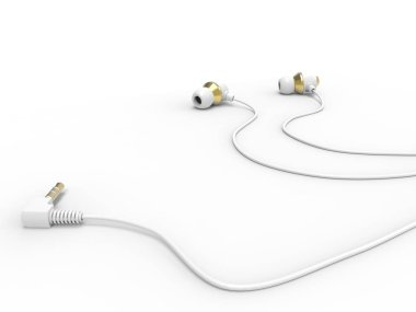 Modern white gold phone headphones - on the ground