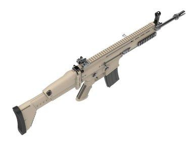 Desert colour army assault rifle - top down view stock vector