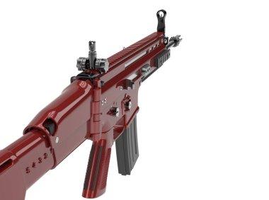 Metallic red modern assault rifle stock vector
