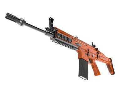 Metallic orange modern assault rifle - low angle shot stock vector