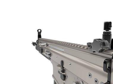 Metallic desert sand color assault rifle - FPS closeup shot stock vector