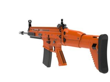 Metallic orange modern assault rifle - back view stock vector