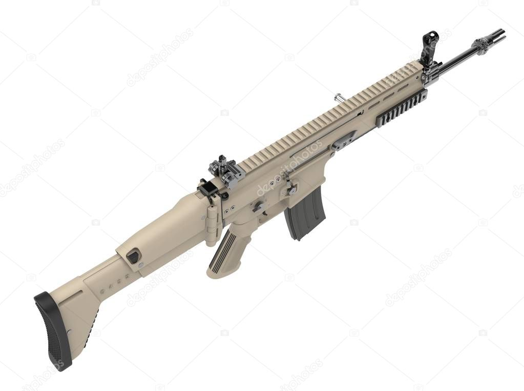 Desert colour army assault rifle - top down view stock vector